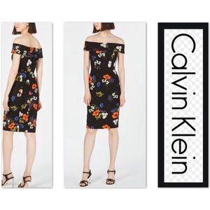 🆕CALVIN KLEIN Floral Off The Shoulder Scuba Dress